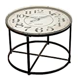 The Industrial Chic Clock Table, Vintage Style, Metal with Glass Top, Quartz Movement, 31 1/2 Diameter x 22'' High, from Our Loft Living Collection, By Whole House Worlds