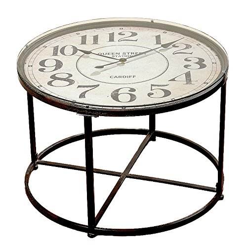 The Industrial Chic Clock Table, Vintage Style, Metal with Glass Top, Quartz Movement, 31 1/2 Diameter x 22