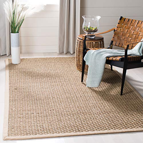 Safavieh Natural Fiber Collection NF114A Basketweave Natural and Beige Summer Seagrass Square Area Rug (3' Square)