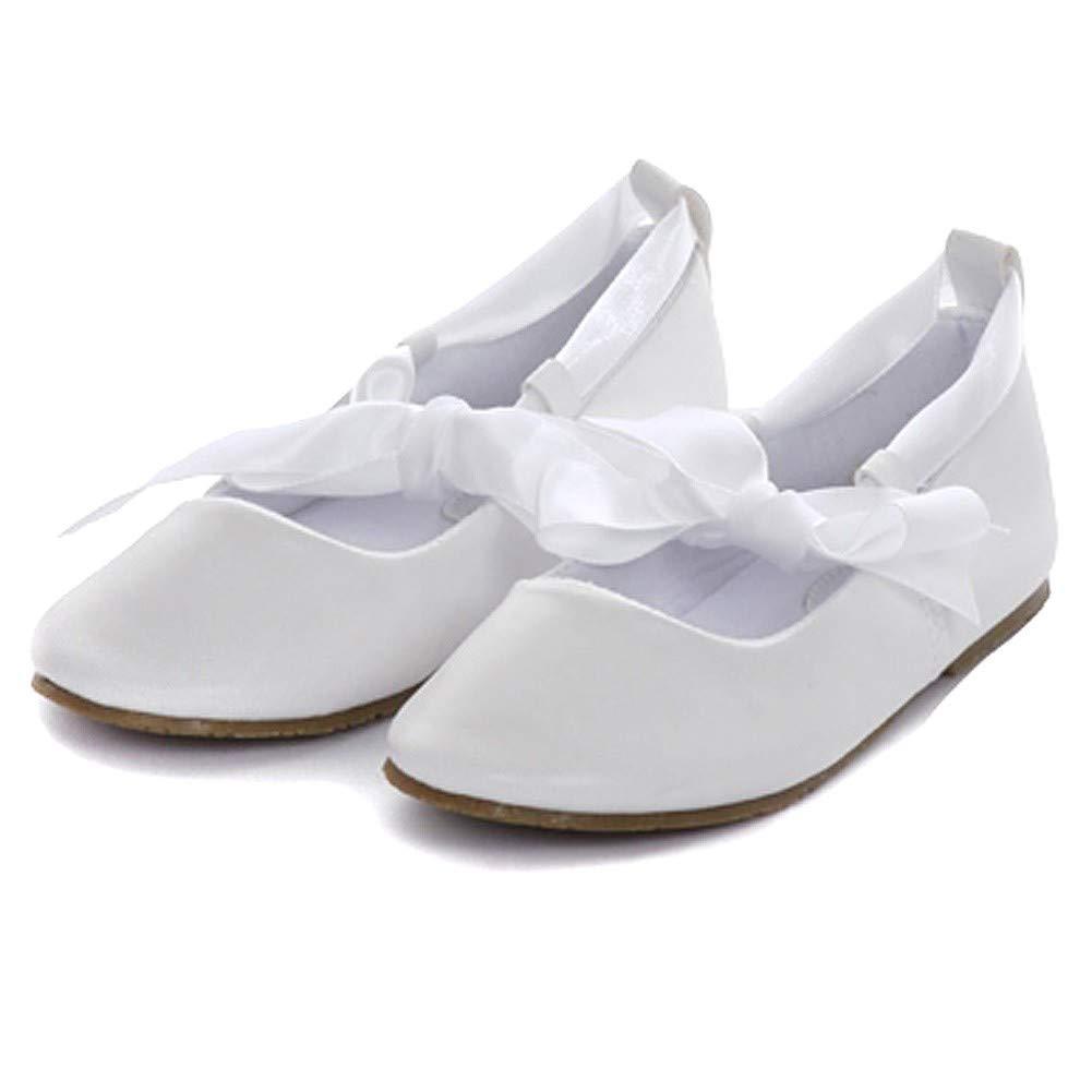 Kids Dream White Ballerina Ribbon Tie Rubber Shoe Little Girl 11-3