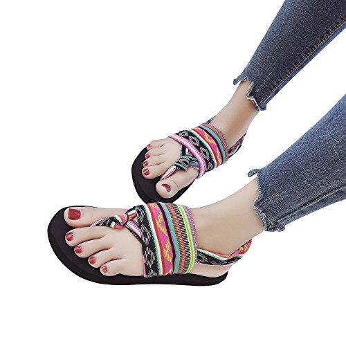 Sandali con Chiusura sul Retro Donna Styledresser Donna Boho Clip Toe Wedge Heel Elastico T-Strap Sandali Romani Sandali da Spiaggia Infradito Infradito Scarpe Multicolore