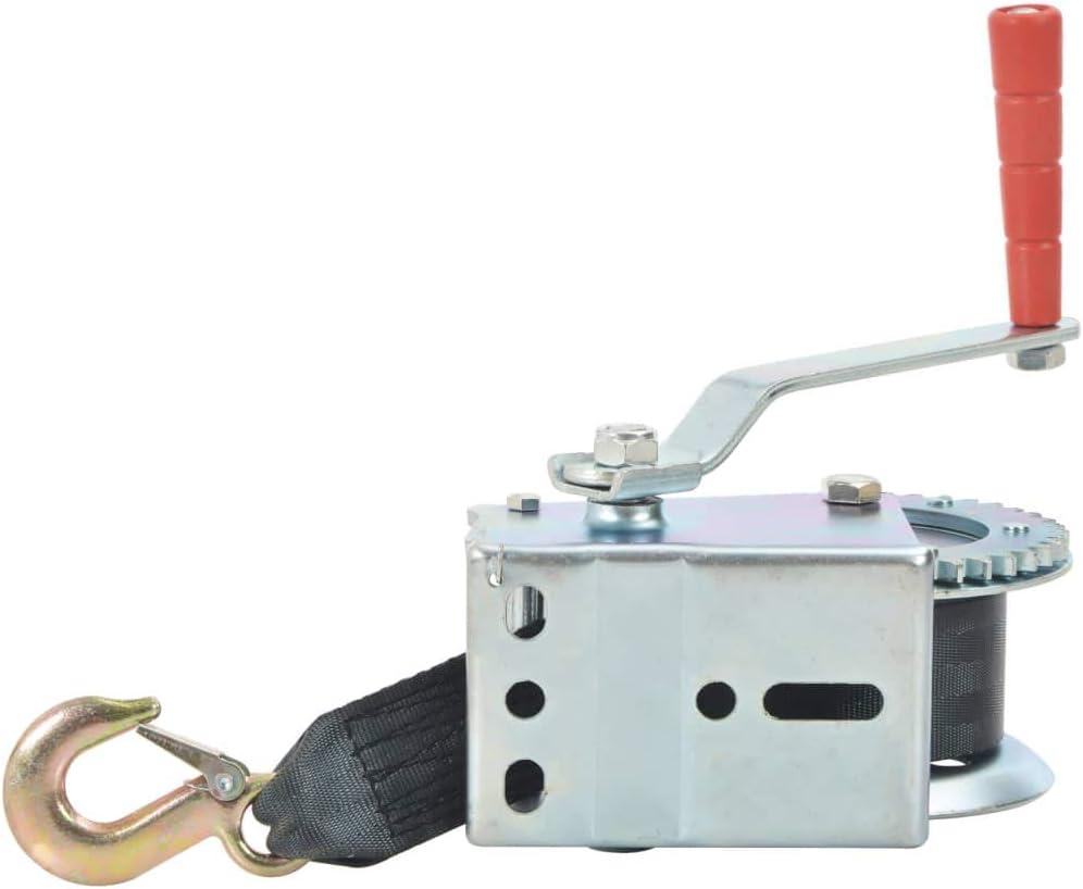 vidaXL Treuil Manuel avec Sangle Treuil /à C/âble Treuil /à Main Robuste Remorques de Bateau Camions Auto Applications Mobiles 540 kg