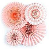 Jesipi Tissue Paper Fans Decorations Paper Fans Pack in Mixed Size for Baby Shower Birthday Party Decorations Hanging Fans Wedding Decoration (Pack of 4) (Pink)