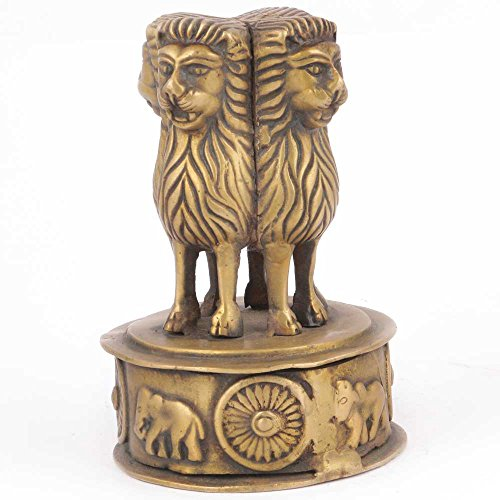 IndianShelf Handmade Decorative Bronze Multicolor Ashoka Emblem Online by Indian Shelf