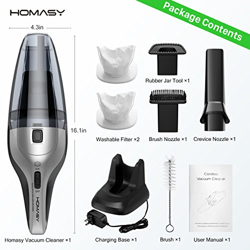 Homasy Handheld Cleaner, 6Kpa Cyclonic Suction Portable Powerful Cordless Car, Fast Charging Base, Wet Dry Vacuum for Pet Hair Cleaning, DC 14.8V Lithium Batt, Large, Platinum Grey