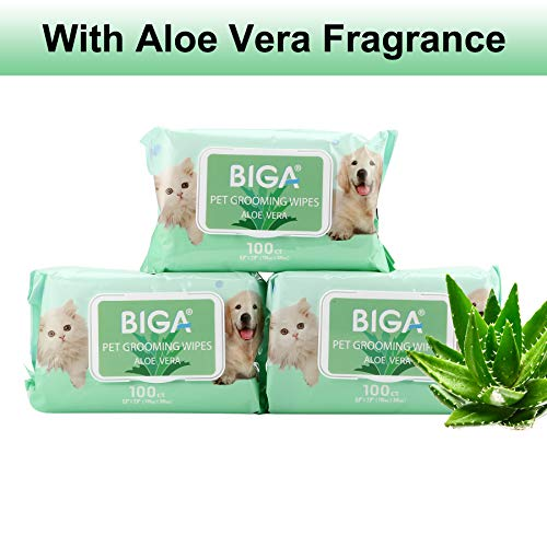 Deodorizing Hypoallergenic Pet Wipes with Fragrance Free Natural Organic and Antibacterial for Cleaning Face Butt Eyes Ears Paws Teeth 100ct per Pack (Aloe Vera 6 Pack) by BIGA (Image #1)