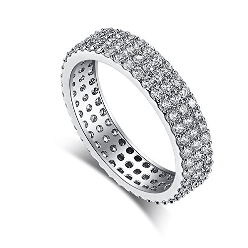 Psiroy 925 Sterling Silver Created White Topaz Filled Eternity Band Stacking Wedding Ring Size 6