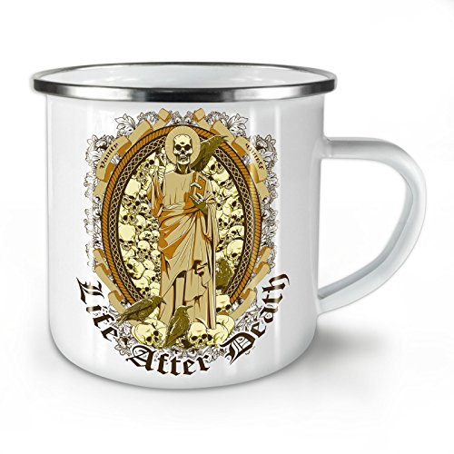 Life After Death Skull Enamel Mug, Vanity Cup - Strong, Easy-Grip Handle, Two Side Print, Ideal for Camping & Outdoors By Wellcoda