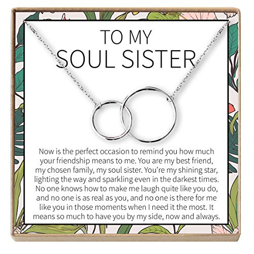 Linked Long Necklace - Dear Ava Necklace: BFF, Long Distance, Friends Forever, Friends, 2 Interlocking Circles (Silver-Plated-Brass, NA)