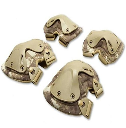 '' Knee and Elbow Pads Guard Flexible Plate Protector for Climbing, Cycling, Roller Skating, Skateboard,Bmx, Tactical Military - 4Pack Khaki''