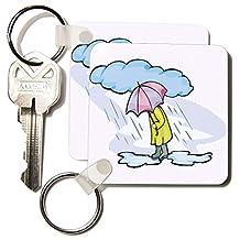 kc_37393_1 Florene Humor - Cartoon Man n Umbrella In Rain - Key Chains - set of 2 Key Chains