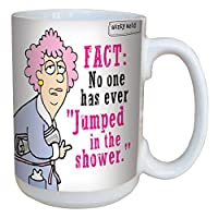 Tree-Free Greetings 15-Ounce Ceramic Mug with Full-Sized Handle, Aunty Acid Jump In The Shower (LM46510)