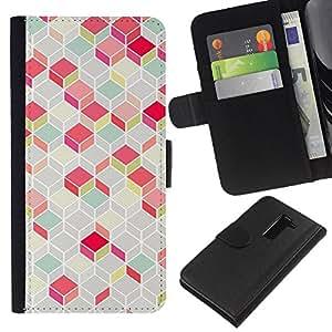 WINCASE Cuadro Funda Voltear Cuero Ranura Tarjetas TPU Carcasas Protectora Cover Case Para LG G2 D800 - polígono modelo rosado del trullo líneas 3d con clase