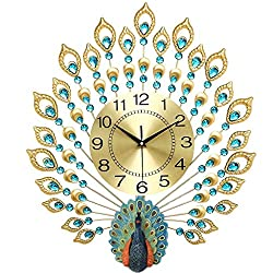 TIANTA- Luxury gold three-dimensional peacock diamond wall clock wrought iron bedroom living room silent European-style home decor ( Color : Gold , Size : 6570cm )
