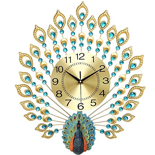 (TIANTA- Luxury gold three-dimensional peacock diamond wall clock wrought iron bedroom living room silent European-style home decor ( Color : Gold , Size : 6570cm ) )