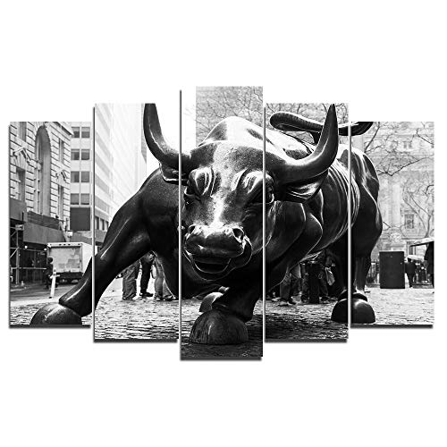 - Faicai Art 5 Piece Canvas Wall Art Prints New York Landmark Charging Wall Street Bull Paintings Large Animal Printings Wall Posters Pictures Living Room Wall Decor Home Office Framed 60''W x 32''H