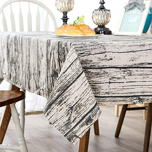 Bringsine Washable Cotton Linen Vintage Wooden Grain Pattern Design Square Tablecloth Dinner Picnic Table Cloth Home Decoration Assorted Size