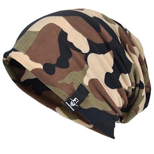 VECRY Men Slouch Hollow Beanie Thin Summer Cap Skullcap (Camo-Green) - Stretch Camo Cap