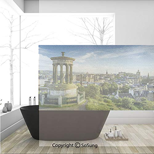 - 3D Decorative Privacy Window Films,Edinburgh Town Aerial View of Historical Buildings Heritage Panorama Art,No-Glue Self Static Cling Glass Film for Home Bedroom Bathroom Kitchen Office 36x24 Inch