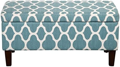 ModHaus Living Aqua Teal and White Print Linen Storage Bench Ottoman Includes TM Pen