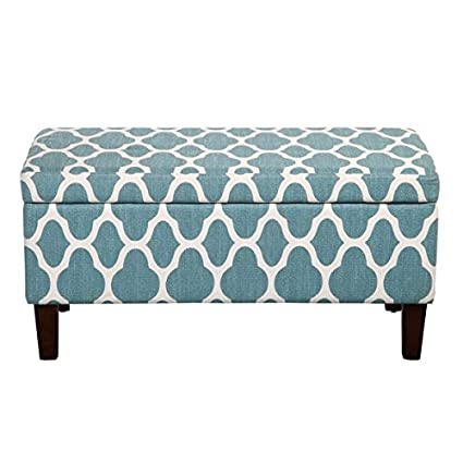 Aqua Teal And White Print Linen Storage Bench Ottoman Includes ModHaus  Living (TM) Pen