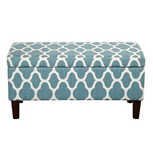 Cheap ModHaus Living Aqua Teal and White Print Linen Storage Bench Ottoman Includes (TM) Pen