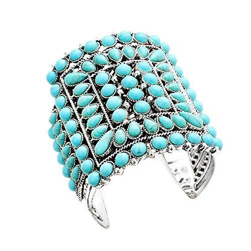 Tiffany Rose Bracelet (Aris Chunky Metalwork Cabochon Squash Blossom Turquoise Stone Cuff Bracelet Bundle: Bangle & Bag (Heirloom Turquoise))