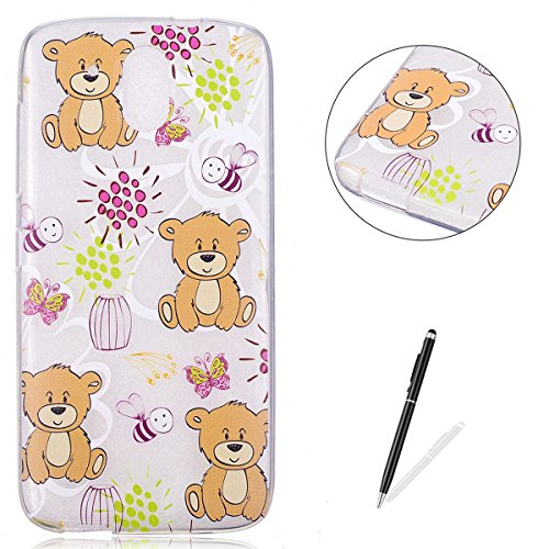 - HTC D526 Clear Case Cover KaseHom Cartoon Brown Bear Print Design Ultra-thin Shockproof Jelly Silicone Skin Shell for HTC D526 + [Free Screen Protector]