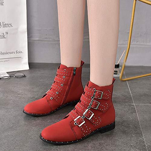 Scarpe Casual Stivaletti Sexy Classico Camoscio Stivali Rosso Colore Modaworld Mary Basse Cerniera Moda Jane Donne Corto Stivaletto SddwxBF