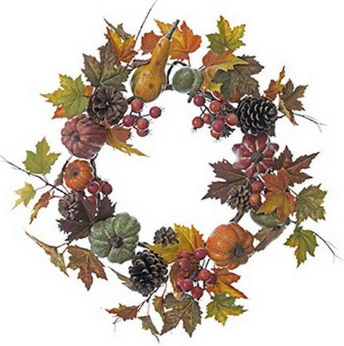 Mikash 24 Pumpkin, Pinecone, Pomegranate Maple Leaf Artificial Hanging Wreath -Fall | Model WRTH - 407]()