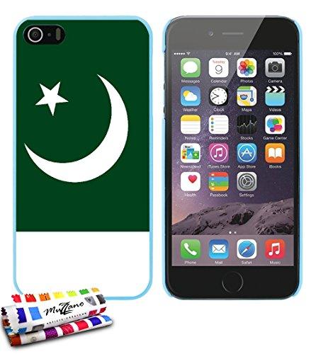 Ultraflache weiche Schutzhülle APPLE IPHONE 5S / IPHONE SE [Flagge Pakistan] [Lagunenblau] von MUZZANO + STIFT und MICROFASERTUCH MUZZANO® GRATIS - Das ULTIMATIVE, ELEGANTE UND LANGLEBIGE Schutz-Case