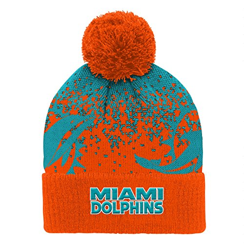 Outerstuff NFL Miami Dolphins Youth Boys Gradient Jacquard Cuffed Knit Hat Aqua, Youth One Size