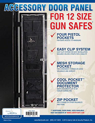 Liberty Safe Gun Safe Door Panel Organizer for Holding Pistols and Important Documents -- 12 Size (10.25'' x 49.5'' Internal Hinge) by Liberty Safe