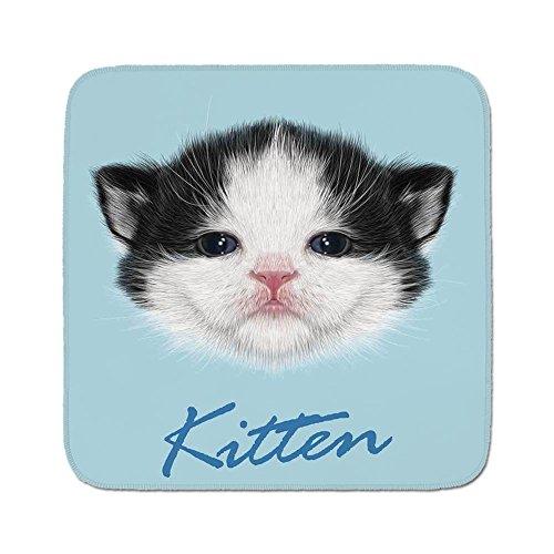 Cozy Seat Protector Pads Cushion Area Rug,Cartoon Decor,Portrait of Domestic Kitten Newborn Bicolor Fury Head Pink Wet Nose Arts