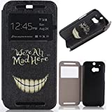 (US) M8 Case, M8 flip case Gift_Source [Slim Fit] Window View PU Leather Case Flip Cover Folio Case for HTC One M8 (Mad Smile)