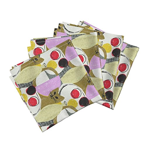 - Roostery Kitten Moggy Retro Cats Cubist Organic Sateen Dinner Napkins Still Life with Cat by Ottomanbrim Set of 4 Dinner Napkins