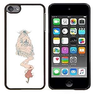 KLONGSHOP // Cubierta de piel con cierre a presión Shell trasero duro de goma Protección Caso - Monster Blanco Beige Niños - Apple iPod Touch 6 6th Touch6 //