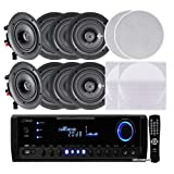 """Pyle KTHSP390 4 Pairs of 150W 5.25"""" In-Wall / In-Ceiling Stereo White Speakers w/ 300W Digital Home Stereo Receiver w/ USB/SD/AUX Input, Remote w/ 4 Channel High Power Stereo Speaker Selector, 4 Volume Controls & 250 ft. Wire"""
