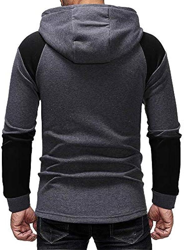 Sweter męski z długim rękawem, Hoodie męski zimowy sweter zapinany na zamek błyskawiczny swobodny sweter z kapturem męski sweter z kapturem płaszcz kurtka,: Odzież