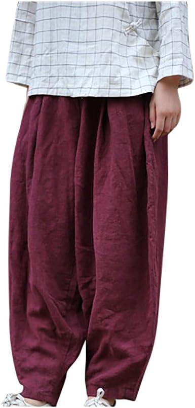 Cinnamou Pantalones Mujer Pantalones Anchos Sueltos Vintage Color Solido Pantalones Casuales Finos Largos Pololos Pantalon Bombacho Pantalon Holgado Amazon Es Ropa Y Accesorios
