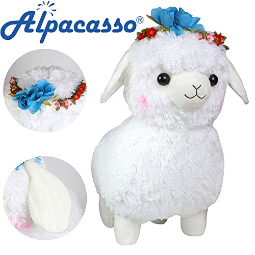 Alpaca Flowers - Alpacasso 17' Plush Alpaca with Wreath, 100% Plush Stuffed Animals Toys. (Blue Flower)