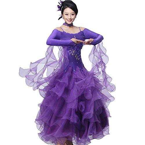 Abbigliamento Lunga Per Performance Donne Le Da Competizione Valzer Gonna Vestito Wqwlf Ballo Tango 5 Manica Costume xl S Moderno Abiti qawv4xRZW