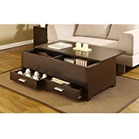 Knox Coffee Table. This Contemporary Storage Box Table Combines Plenty of Space and a Sliding Table Top Panel. This Dark Espresso Coffee Table Has 2 Drawers and a Sliding Top Panel for Plenty of Storage. This Table Gives Any Living Room a Modern Look