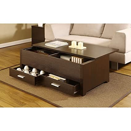 Knox Coffee Table. This Contemporary Storage Box Table Combines Plenty of  Space and a Sliding Table Top Panel. This Dark Espresso Coffee Table Has 2  ...