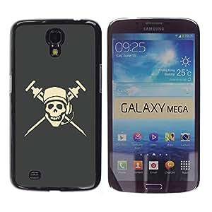 LECELL -- Funda protectora / Cubierta / Piel For Samsung Galaxy Mega 6.3 I9200 SGH-i527 -- Cool Pirate Skull Dj Microphone Cap --