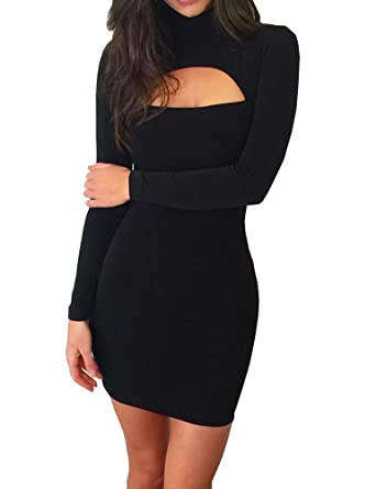 13b5f9eb6ac9 Haola Women's Long Sleeve Cut Out Front Sexy Club Bodycon Dress Party Mini Bandage  Dress S
