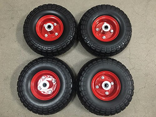 Honda Generator Wheel Kit for EU3000is- SOLID NEVER FLAT TIRES- All Terrain!!- RED COLOR by Unbranded/Generic (Image #1)