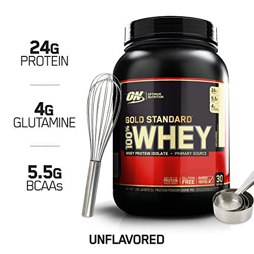 Optimum Nutrition Gold Standard 100% Whey Protein Powder, Keto Friendly, Unflavored, 2 lb
