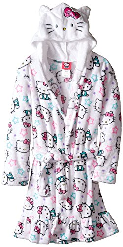 Hello Kitty Toddler Girls' Hooded Fleece Robe, White, 2T (Toddler Girl Robe)