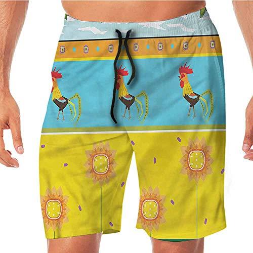 Quick-Dry Beach Running Shorts Gallus,Sunflowers Summer Season Volleyball Shorts M
